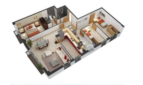 denah rumah 6x8 3 kamar 3d